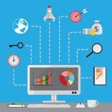 SEO Set do conceito de projeto liso, ilustração do vetor Imagem de Stock Royalty Free