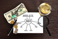 Seo sheme on paper Royalty Free Stock Image