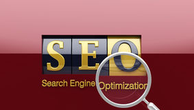 SEO on shiny roller with loupe Royalty Free Stock Images