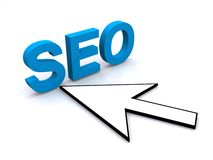 SEO sign with cursor arrow Stock Image