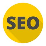 SEO sign icon with long shadow. Vector icon Royalty Free Stock Photo