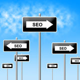 Seo Sign Shows World Wide Web And Network Stock Photography