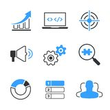 SEO simple vector icon set. Graph, computer, target, megafon, wheels, search, diagram, position and clients Royalty Free Stock Image