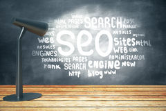 SEO sketch on chalkboard Royalty Free Stock Images