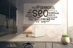 SEO sketch on whiteboard Royalty Free Stock Image