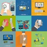 Seo, Social Media Internet-Einkaufsprozeß Lizenzfreie Stockfotos
