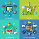 SEO Square Compositions Set Royalty Free Stock Images
