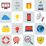 SEO square 15 icons. Vector set 15 SEO icons on square form. Web infographics Stock Photo
