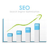 SEO statistics. Business graph for seo with a green arrow going up Stock Photography