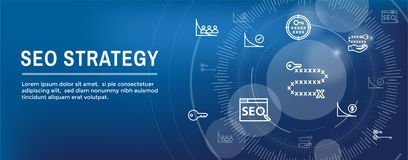 SEO strategia s?owa kluczowe, etc, - wyszukiwarki optymalizacji poj?cie - ilustracja wektor