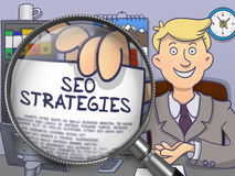 SEO Strategies through Magnifier. Doodle Concept. Royalty Free Stock Image