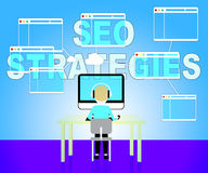 Seo Strategies Represents Search Engines And Development Royalty Free Stock Images
