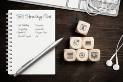 SEO strategy with components for successful marketing royalty free stock image