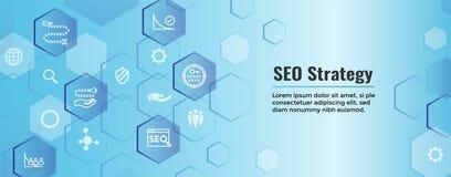 SEO Strategy - conceito da otimiza??o do Search Engine - palavras-chaves, etc. ilustração stock