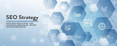 SEO Strategy - conceito da otimiza??o do Search Engine - palavras-chaves, etc. ilustração royalty free
