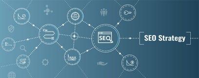 SEO Strategy - conceito da otimiza??o do Search Engine - palavras-chaves, etc. ilustração do vetor