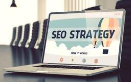 SEO Strategy Concept na tela do portátil ilustração 3D Imagens de Stock Royalty Free