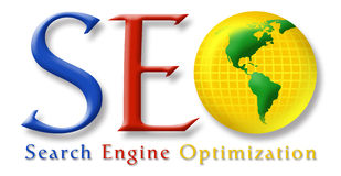 SEO Stylized Logo. Website Search Engine Optimization S.E.O. graphic in style suggestive of large search directory Stock Photo