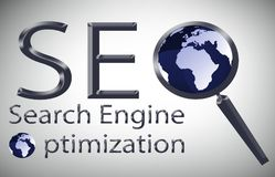 SEO-Suchmaschinen-Optimierungs-Illustration stock abbildung