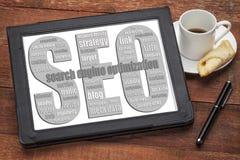 SEO - Suchmaschinen-Optimierungs-Wortwolke Lizenzfreies Stockfoto