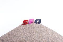 SEO sulla sabbia Immagini Stock