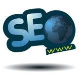 SEO-symbol med blåttvärldsjordklotet WWW Royaltyfri Fotografi