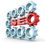 SEO - Symbole d'optimisation de moteur de recherche avec le sort de vitesses Photo stock