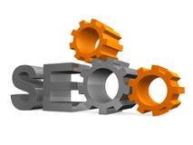 SEO - Symbole de moteur de recherche avec des trains Image libre de droits