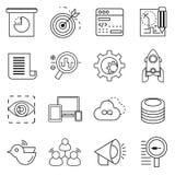 Seo symboler, rengöringsdukanalyticssymboler vektor illustrationer