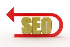 Seo tag with curve arrow Stock Image