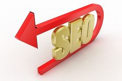 Seo tag with curve arrow Royalty Free Stock Photography