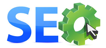 Seo tag with gear wheel Royalty Free Stock Photography