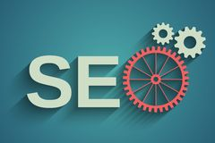 Seo tag with gear wheel Stock Photo
