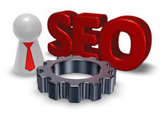 Seo tag, gear wheel and pawn with tie Stock Images