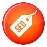 Seo tag icon, flat style. Seo tag icon in red circle isolated on white background vector illustration Royalty Free Stock Photography
