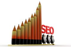 Seo tag with pencil statics Royalty Free Stock Images