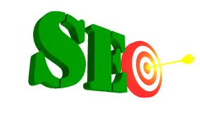 SEO with target and arrow in the bulleye, 3D illustration Royalty Free Stock Photos