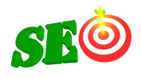 SEO with target and arrow in the bulleye, 3D illustration Royalty Free Stock Images