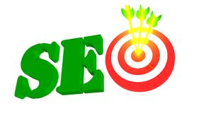 SEO with target and arrow, 3D illustration Royalty Free Stock Photography