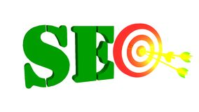 SEO with target and arrow, 3D illustration Stock Photos