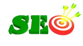 SEO with target and arrow, 3D illustration Royalty Free Stock Image