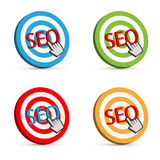 Seo target. Set of four 3D Seo target icons with hand cursor on white background.  EPS file available Stock Photography