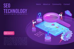 SEO technology landing page isometric vector template stock image