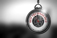 SEO Technology sur l'horloge de poche de vintage illustration 3D Images stock