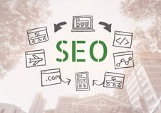 SEO text with drawings graphics Royalty Free Stock Photography