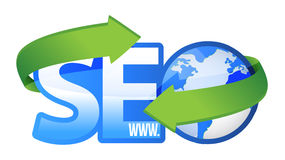 Seo text with earth globe Stock Photography