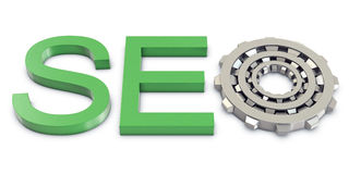 SEO text with gears Royalty Free Stock Image