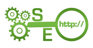 SEO Text Green Gears Magnifying Glass. SEO concept image with text and related conceptual symbols Royalty Free Stock Photos