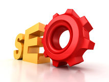 SEO text letters with cogwheel gear Stock Image