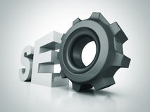 SEO text letters with cogwheel gear Royalty Free Stock Photography